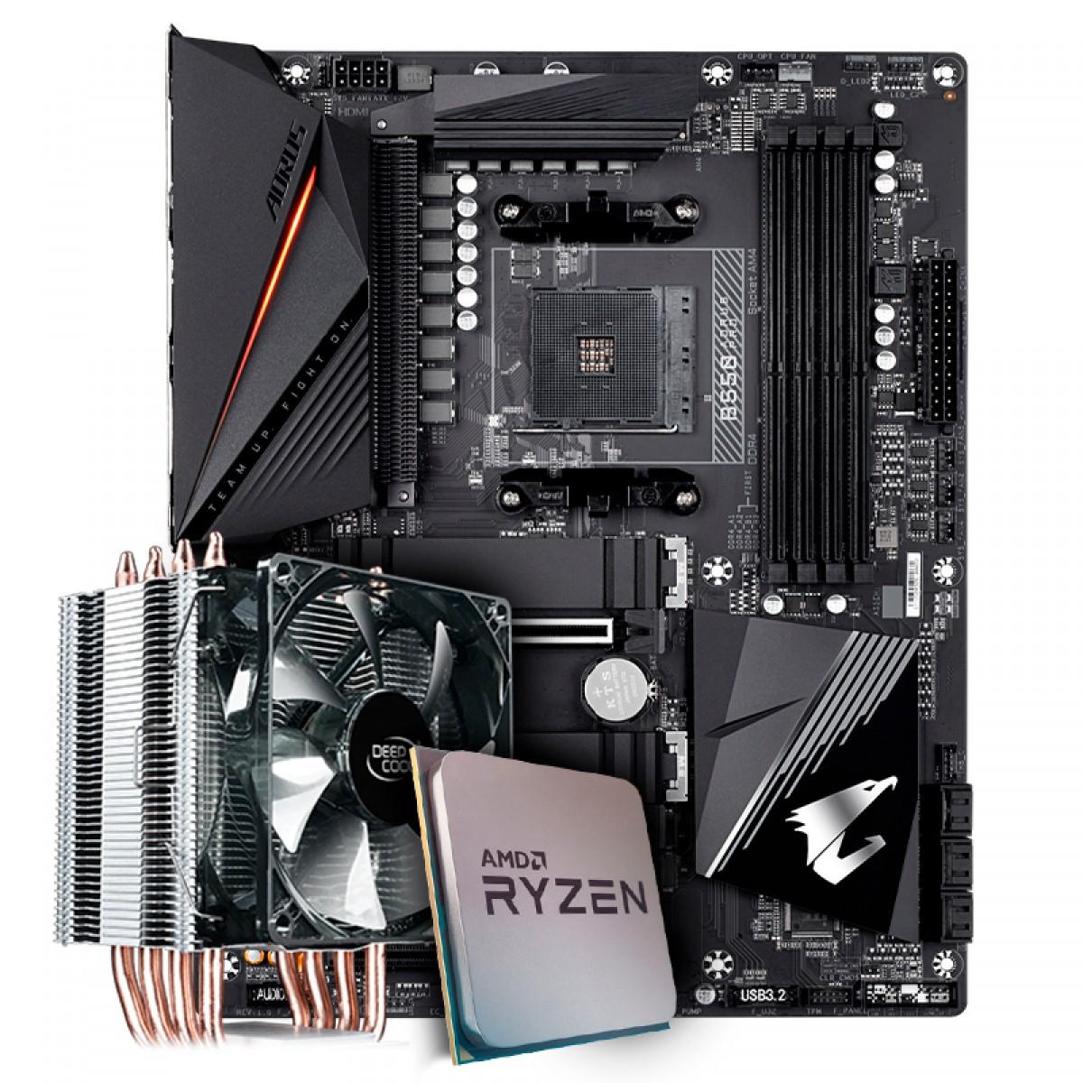 Kit Upgrade Placa Mãe Gigabyte B550 Aorus Pro AMD AM4 + Processador AMD Ryzen 7 3800x 3.9GHz + Cooler Deepcool Gammaxx