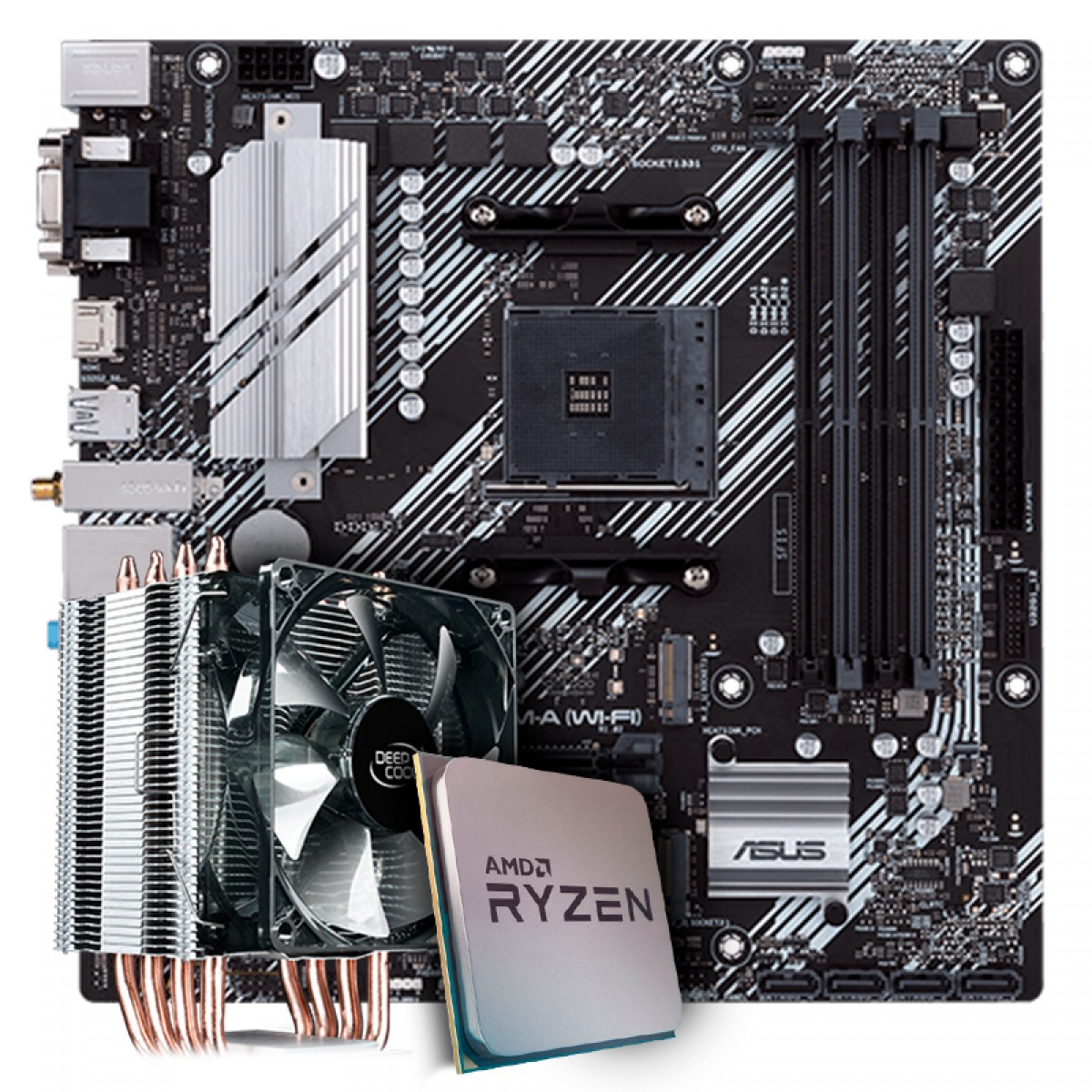 Kit Upgrade, AMD Ryzen 9 3900X, Asus Prime B550M-A Wi-fi, Cooler Deepcool Gammaxx