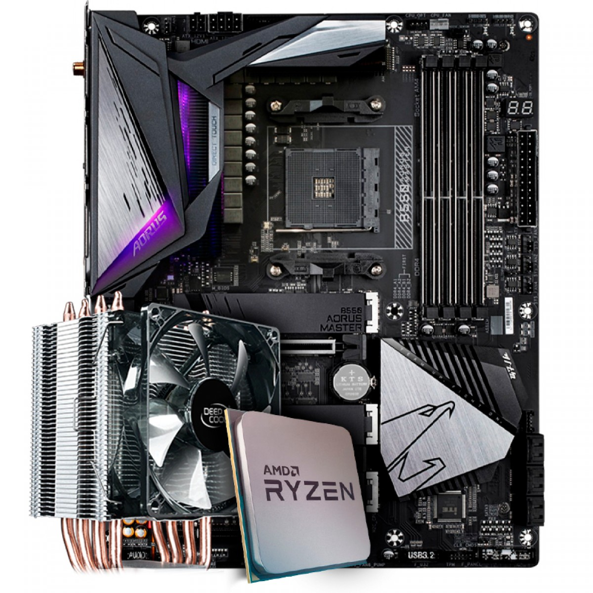 Kit Upgrade Placa Mãe Gigabyte B550 Aorus Master, Chipset B550 AMD AM4 + Processador AMD Ryzen 9 3900x 3.8GHz + Cooler Deepcool Gammaxx
