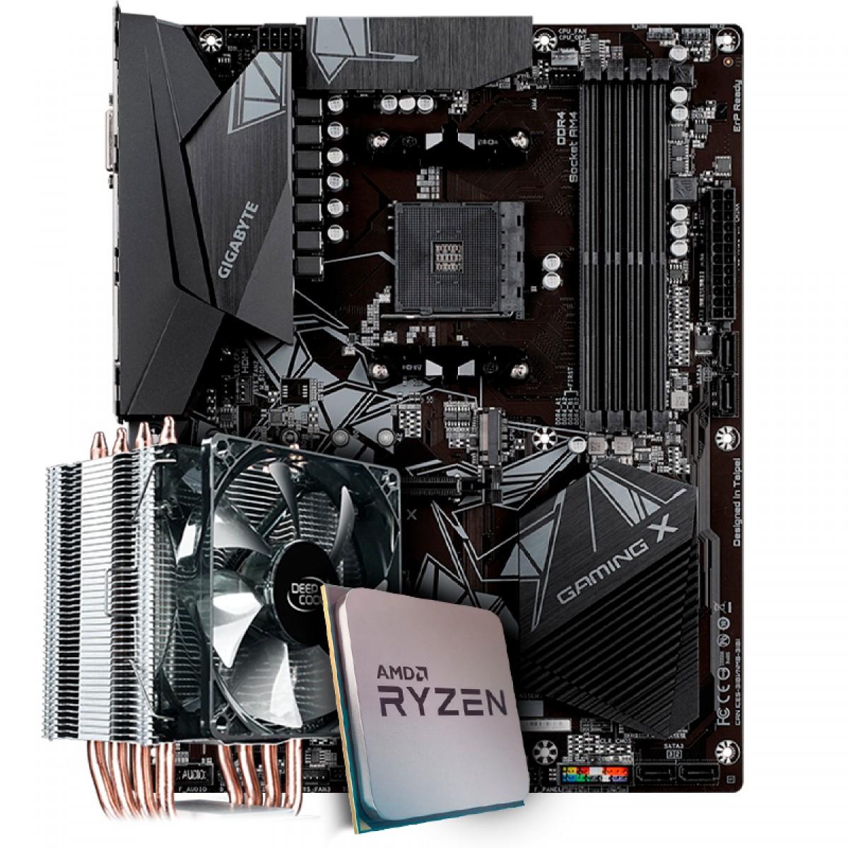Kit Upgrade Placa Mãe Gigabyte B550 Gaming X, Chipset B550 AMD AM4 + Processador AMD Ryzen 9 3900x 3.8GHz + Cooler Deepcool Gammaxx