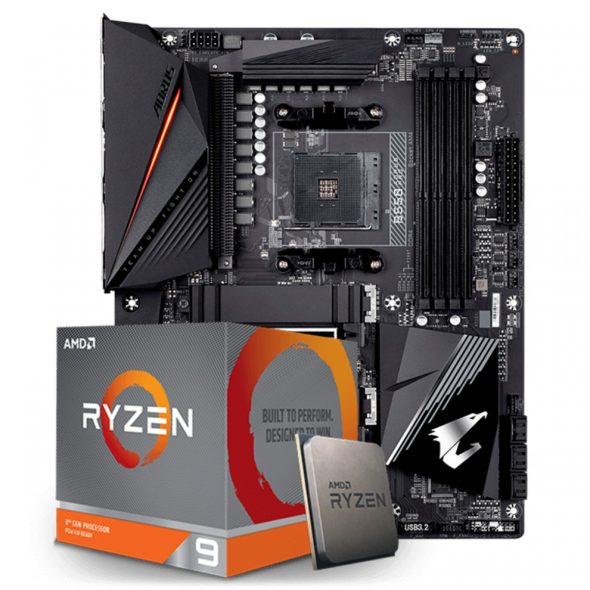 Kit Upgrade Placa Mãe Gigabyte B550 Aorus Pro AMD AM4  + Processador AMD Ryzen 9 3900XT 4.7GHz
