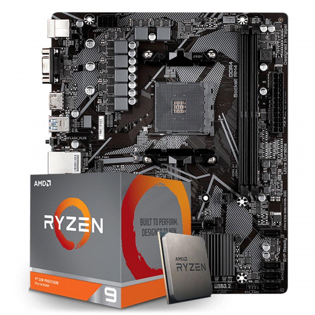 Kit Upgrade Placa Mãe Gigabyte B550M H AMD AM4  + Processador AMD Ryzen 9 3900XT 4.7GHz