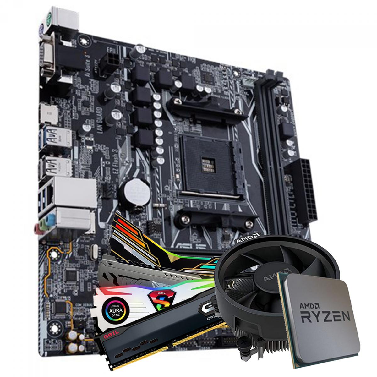 Kit Upgrade, AMD Ryzen 5 PRO 4650G, Asus Prime A320M-K, Memória DDR4 16GB (2x8GB) 3000MHz