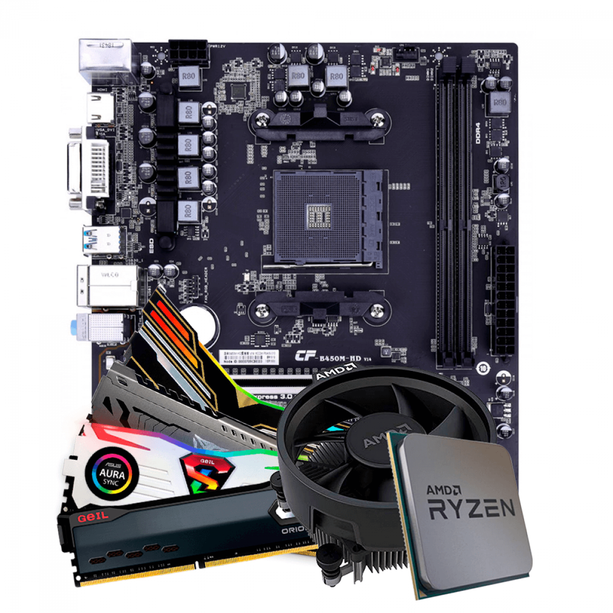 Kit Upgrade, AMD Ryzen 5 PRO 4650G, Colorful Battle-AX B450M-HD V14, Memória DDR4 16GB (2x8GB) 3000MHz