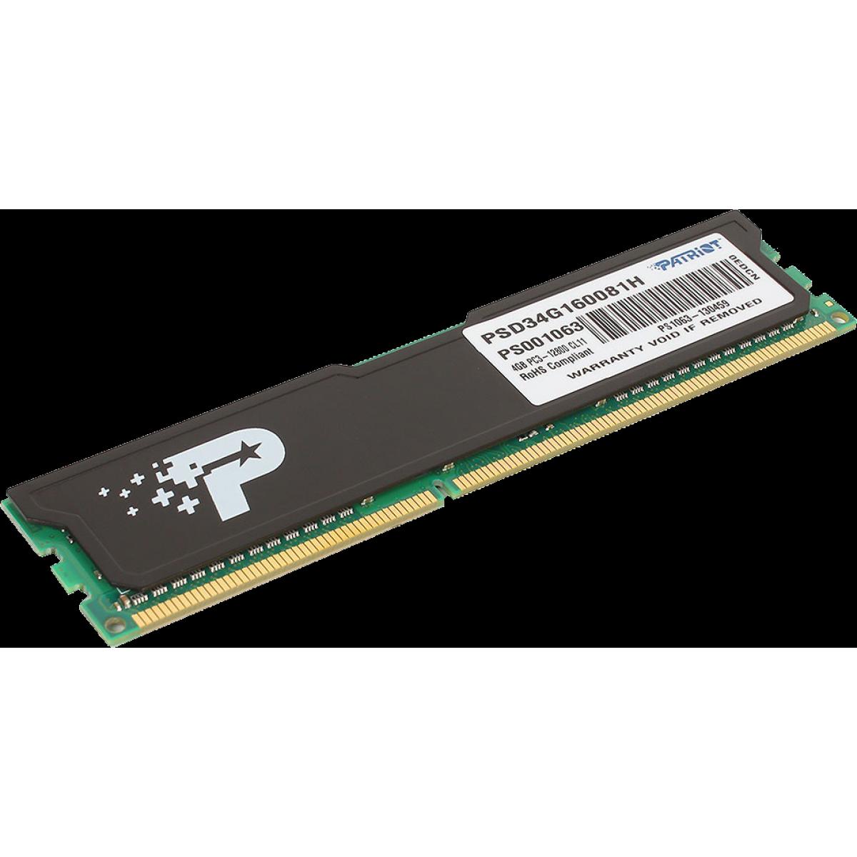 Memória DDR3 Patriot Signature Line 4GB, 1600MHz, PSD34G160081H