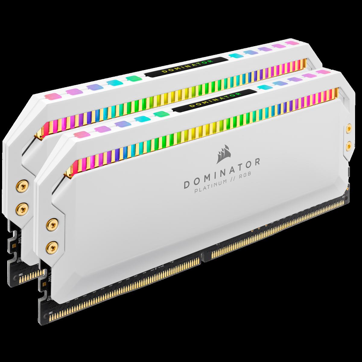 Memória DDR4 Corsair Dominator Platinum RGB, White, 16GB (2x8GB), 3200MHz, CMT16GX4M2C3200C16W