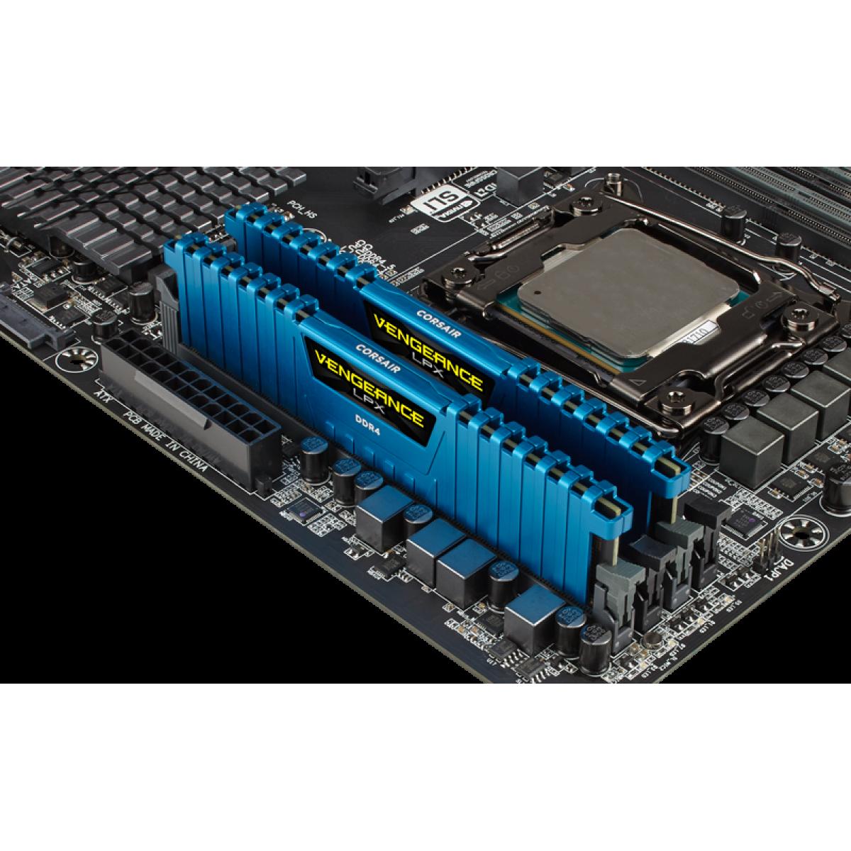 Memória DDR4 Corsair Vengeance LPX, 16GB (2x8GB) 3000MHz, Blue, CMK16GX4M2B3000C15B