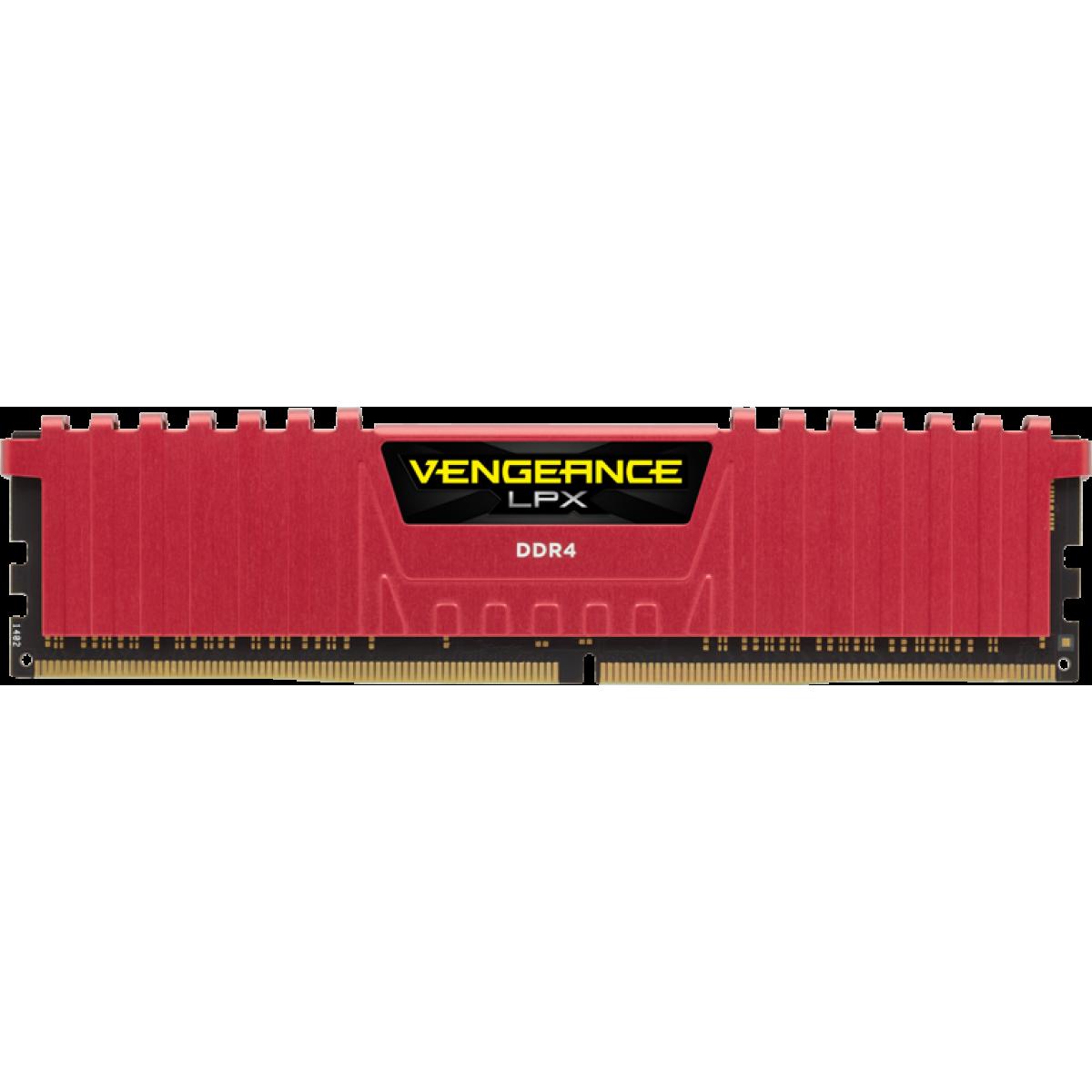 Memória DDR4 Corsair Vengeance LPX, 4GB 2400MHz, Red, CMK4GX4M1A2400C14R