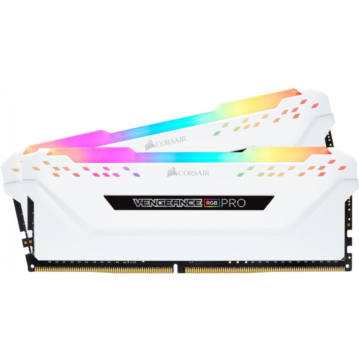 Memória DDR4 Corsair Vengeance PRO RGB 16GB (2x8GB) 2666MHz, White, CMW16GX4M2A2666C16W