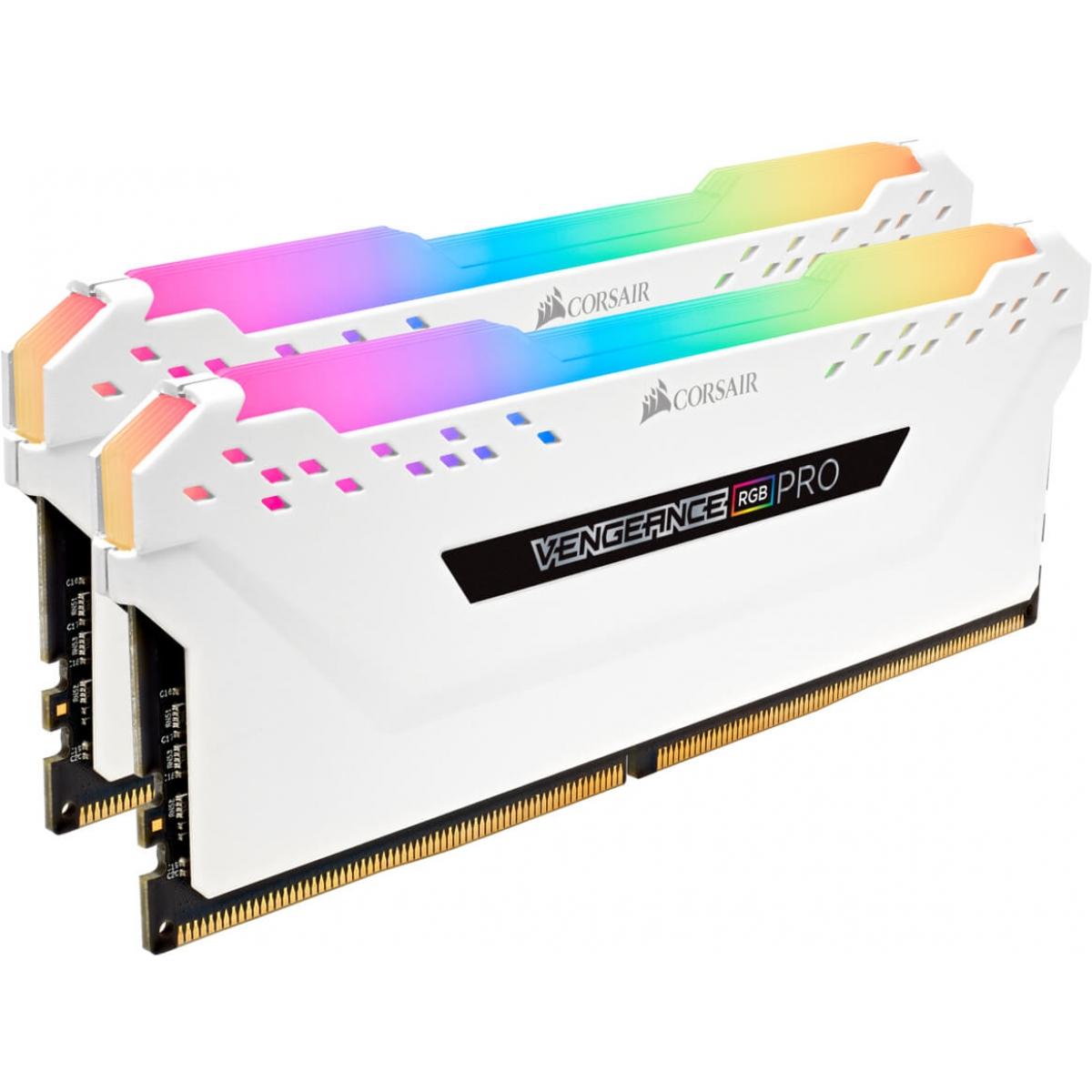 Memória DDR4 Corsair Vengeance RGB Pro, 32GB (2x16GB) 3466MHz, White, CMW32GX4M2C3466C16W