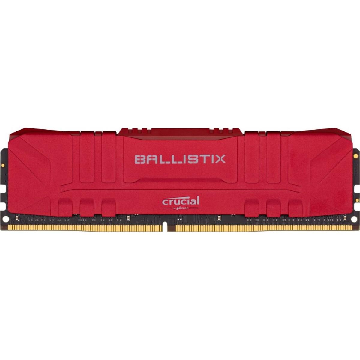 Memória DDR4 Crucial Ballistix, 8GB, 3000MHz, Red, BL8G30C15U4R