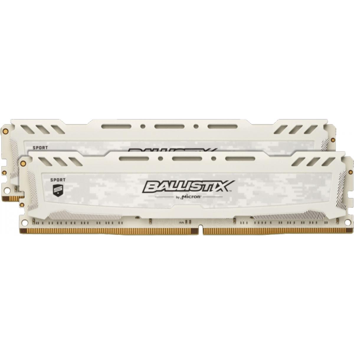Memória DDR4 Crucial Ballistix Sport Lt, 16GB (2x8GB) 3000MHz, White, BLS2K8G4D30AESCK