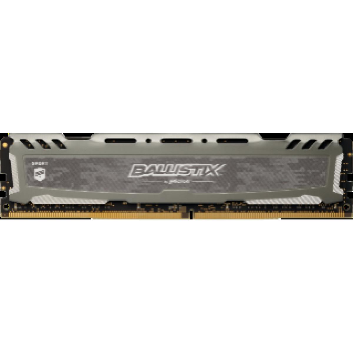 Memória DDR4 Crucial Ballistix Sport Lt, 8GB 3000MHz, Grey, BLS8G4D30AESBK