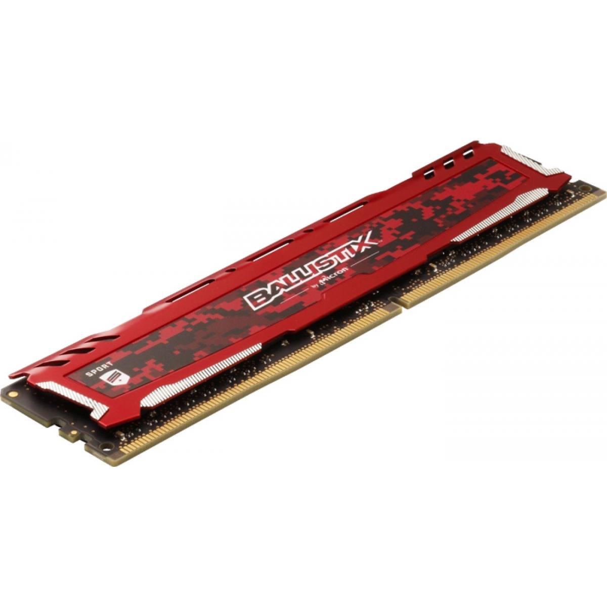 Memória DDR4 Crucial Ballistix Sport Lt, 8GB 3000MHz, Red, BLS8G4D30AESEK
