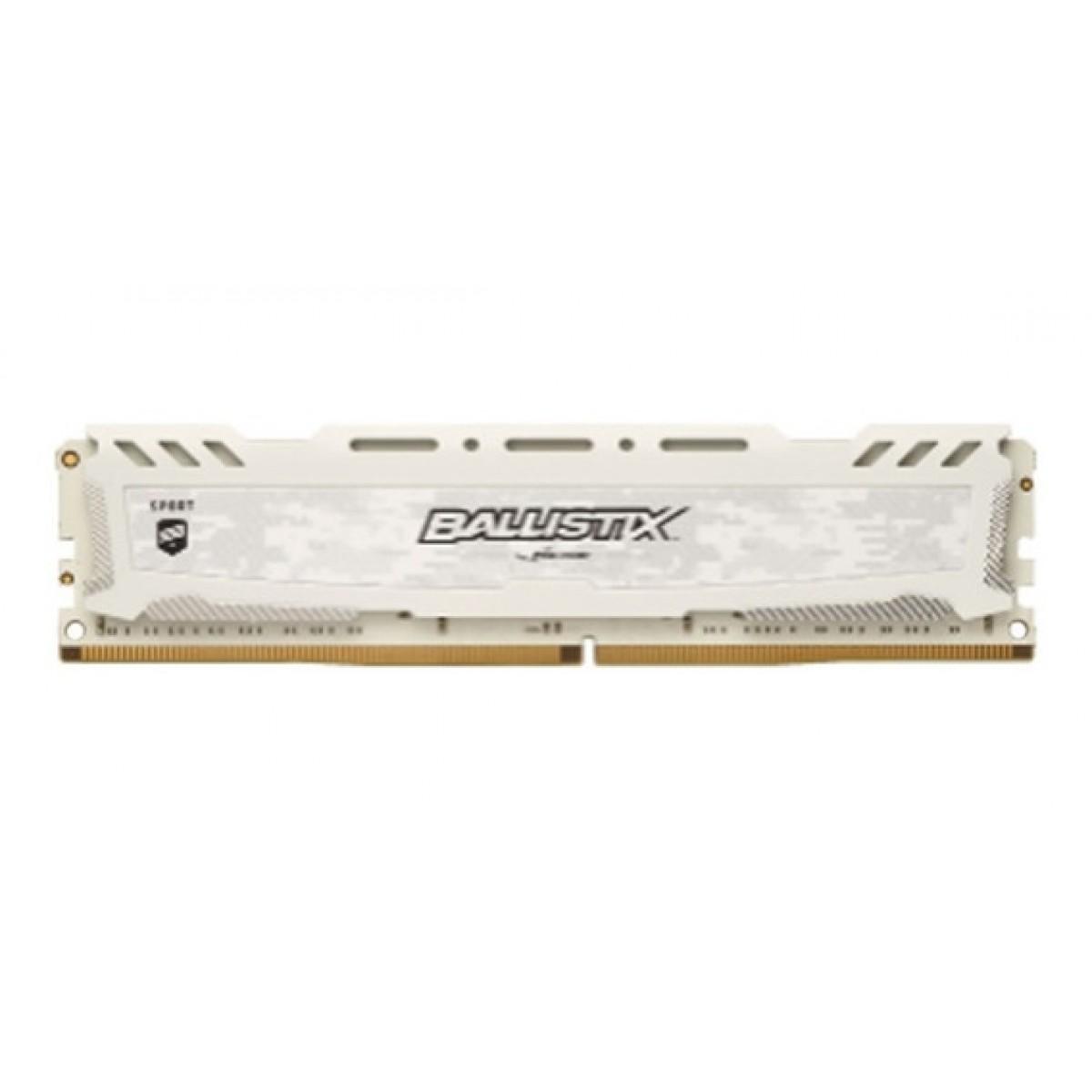 Memória DDR4 Crucial Ballistix Sport LT, 8GB 2400MHz, White, BLS8G4D240FSC