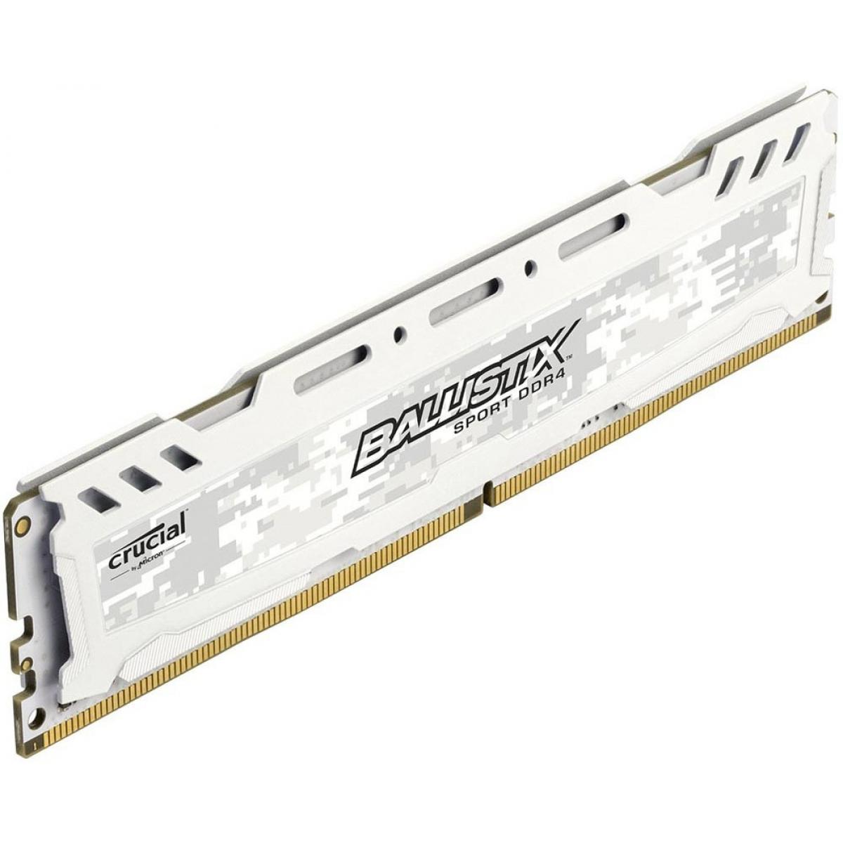 Memória DDR4 Crucial Ballistix Sport LT, 8GB 2400MHz, White, BLS8G4D240FSCK