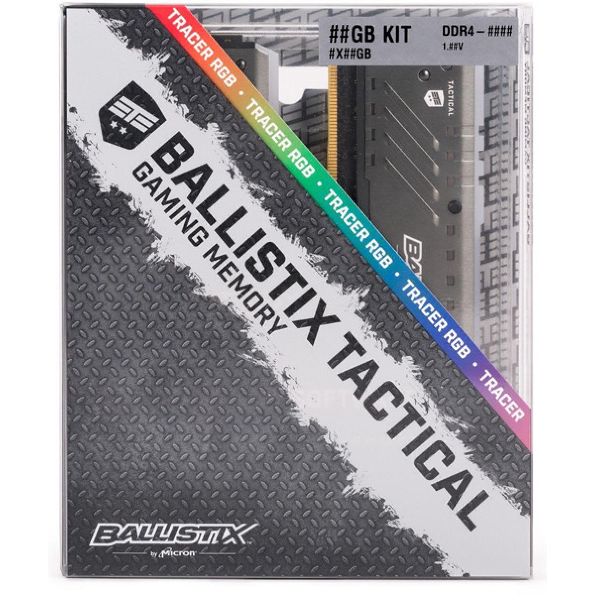 Memória DDR4 Crucial Ballistix Tactical Tracer RGB, 16GB (2x8) 3000MHz, Grey, BLT2K8G4D30BET4K