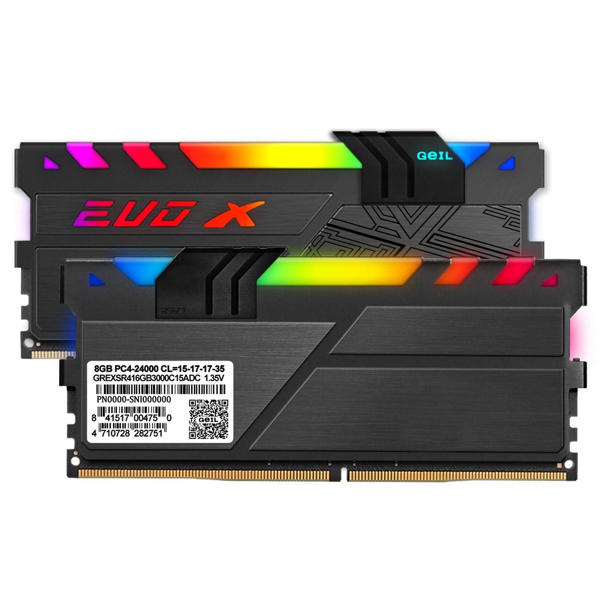 Memória DDR4 Geil EVO X II RGB, 16GB (2x8GB) 3000MHz, ROG CERTIFIED, BLACK, GREXSR416GB3000C15ADC