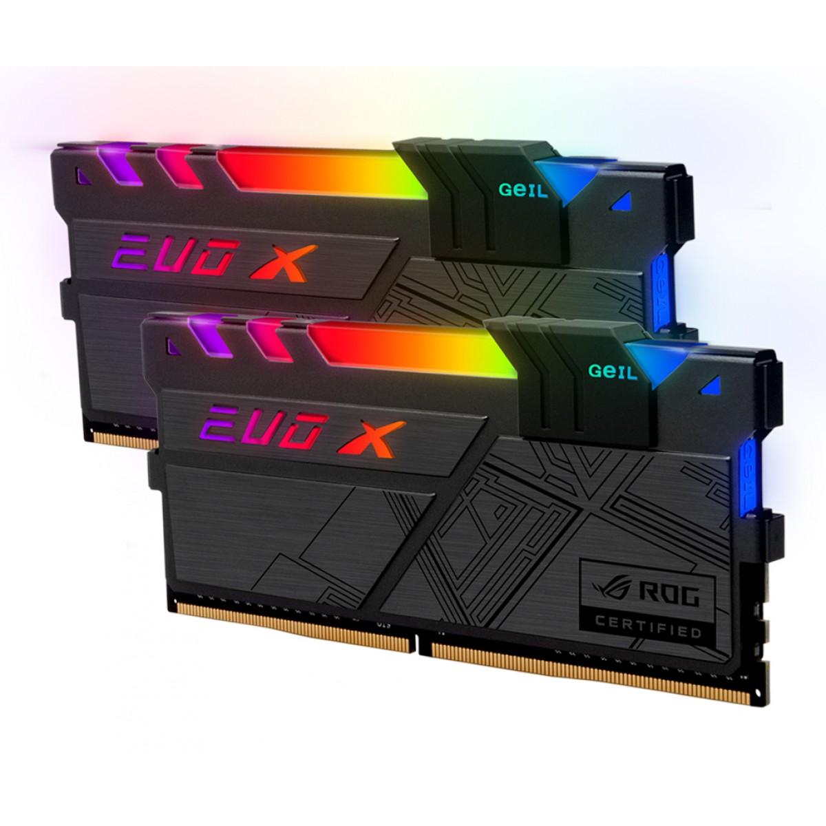 Memória DDR4 Geil EVO X II RGB, 16GB (2x8GB) 3600MHz, ROG CERTIFIED, Black, GREXSR416GB3600C18BDC