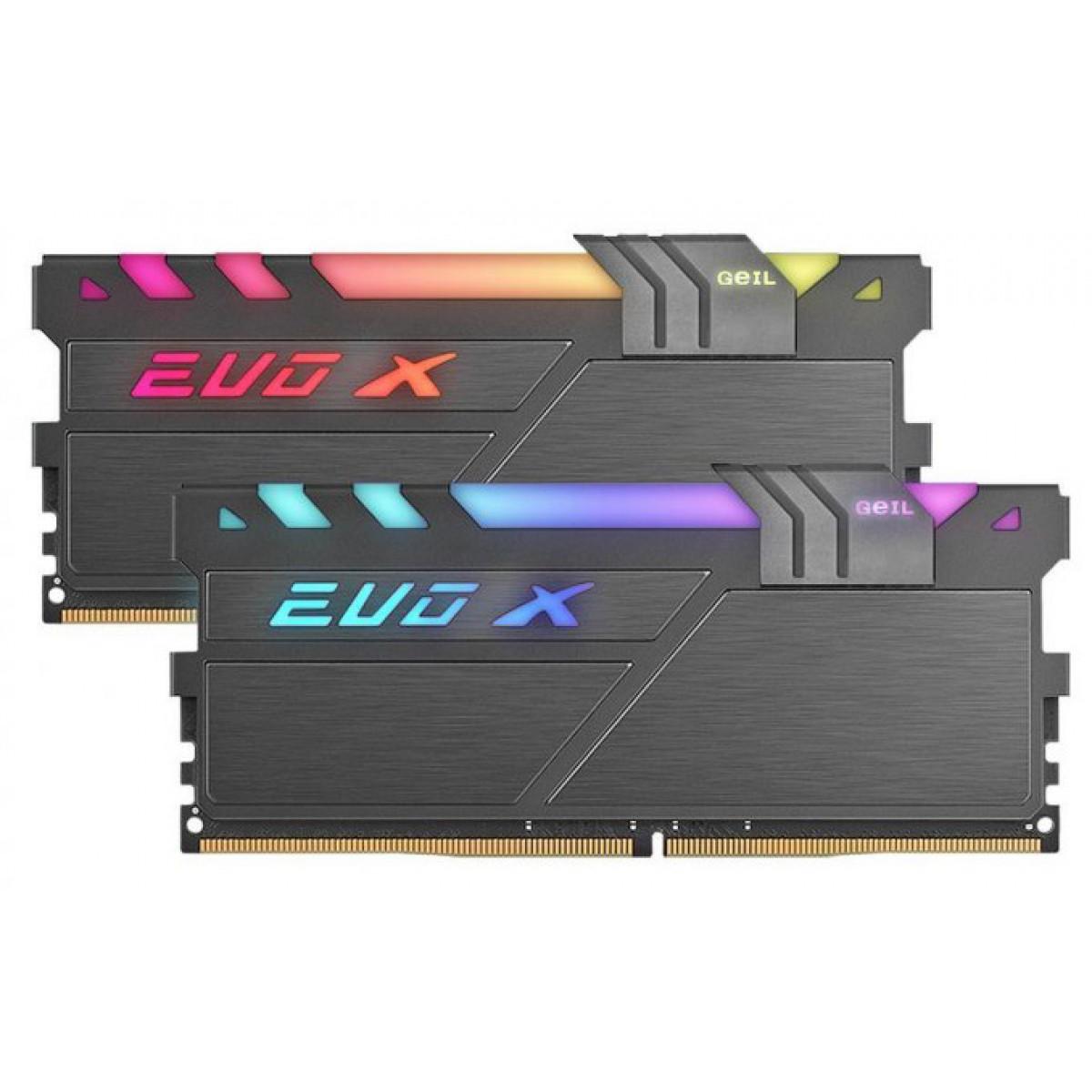 Memória DDR4 Geil EVO X II RGB SYNC 16GB (2x8GB) 3200MHz, GAEXSY416GB3200C16ADC
