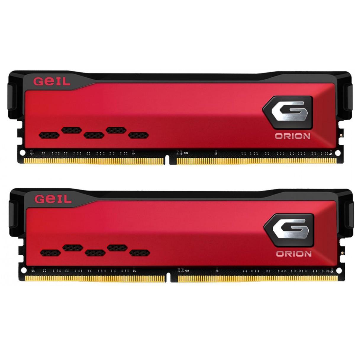 Memória DDR4 Geil Orion, 16GB (2x8GB) 3200MHz, Vermelho, GAOR416GB3200C16ADC