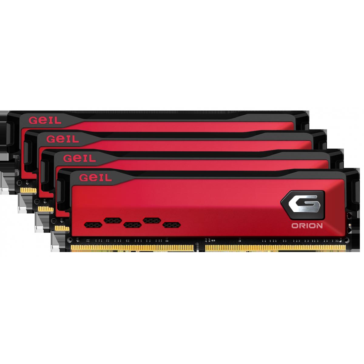 Memória DDR4 Geil Orion, 32GB (4x8GB) 3000MHz, Red, GAOR48GB3000C16ASC x 4