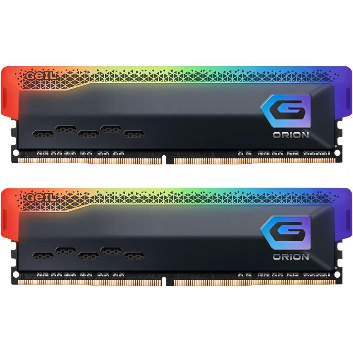 Memória DDR4 Geil Orion, Edição AMD, 16GB (2x8GB) 3200MHz, RGB, Grey, GAOSG416GB3200C22DC