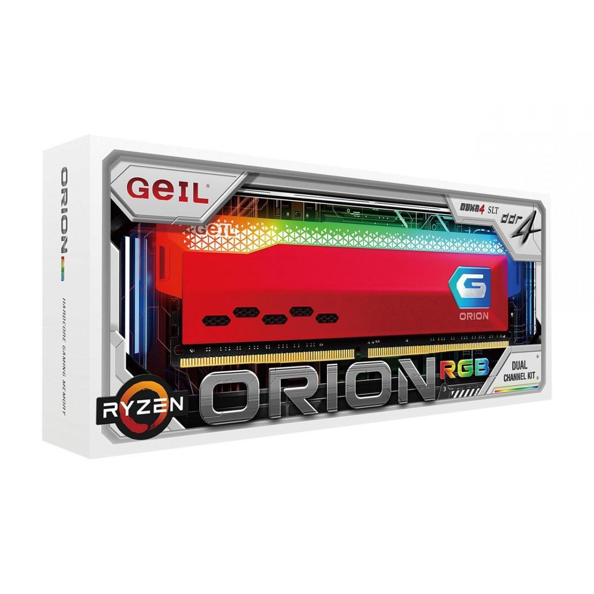 Memória DDR4 Geil Orion, Edição AMD, 16GB (2x8GB) 3200MHz, RGB, Red, GAOSR416GB3200C16BDC