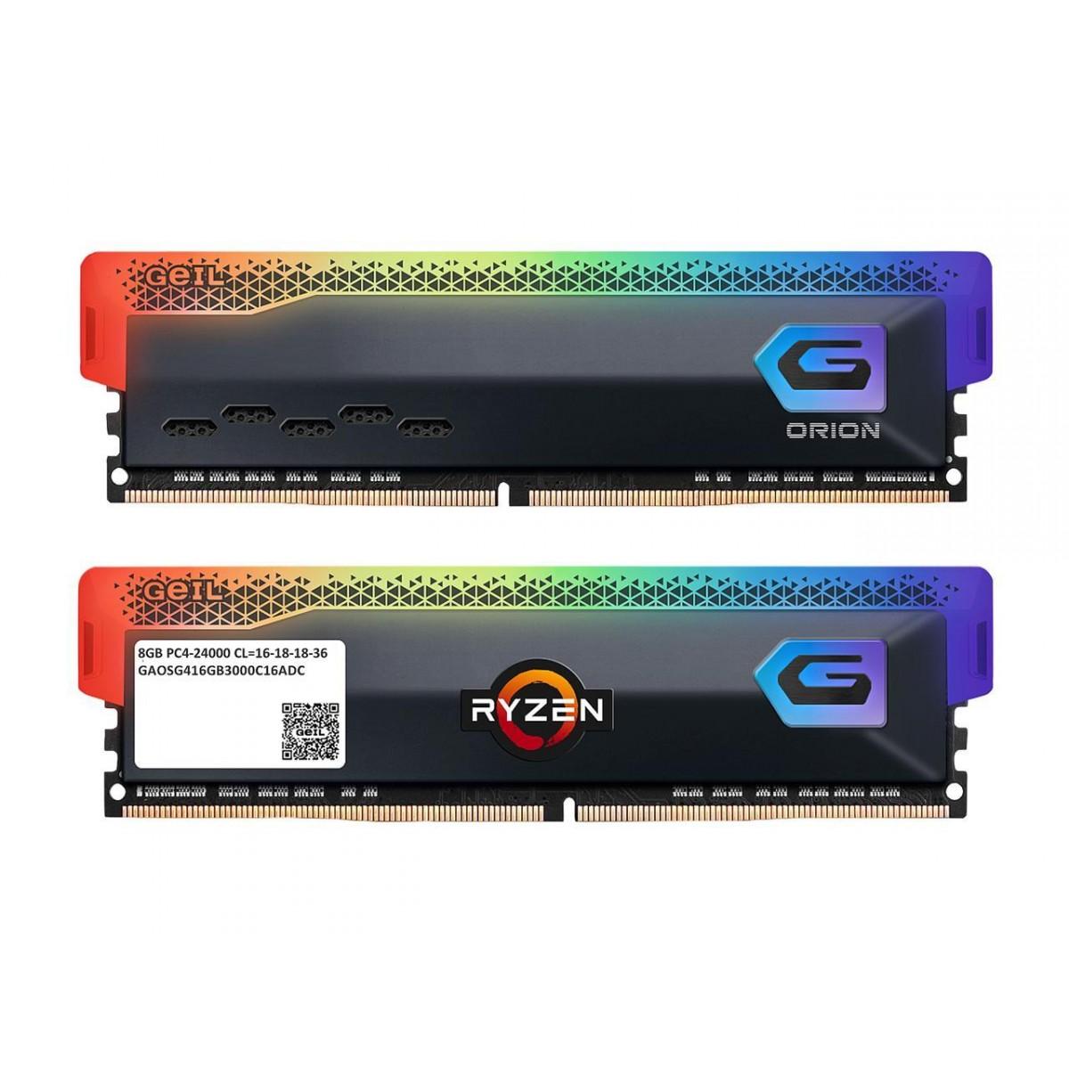 Memória DDR4 Geil Orion, Edição AMD, 16GB (2x8GB) 3600MHz, RGB, Grey, GAOSG416GB3600C18BDC