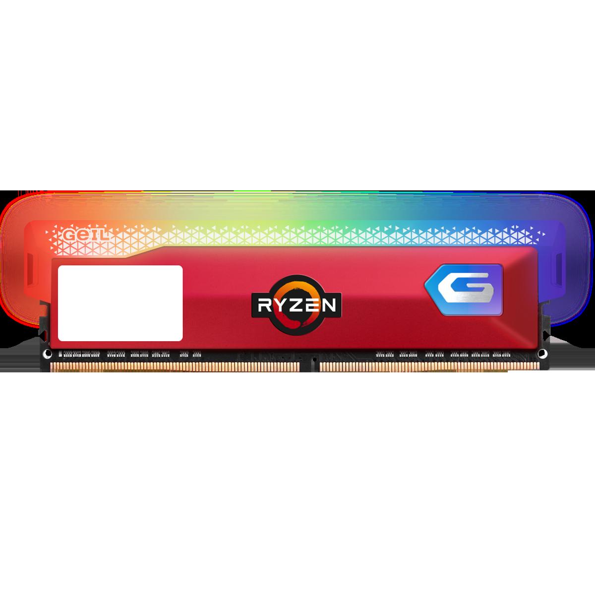 Memória DDR4 Geil Orion RGB, Edição AMD, 8GB, 3200MHz, Red, GAOSR48GB3200C16BSC