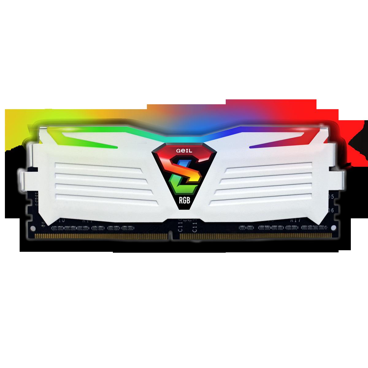 Memória DDR4 Geil Super Luce RGB, 8GB, 3200MHZ, White, GALWS48GB3200C16BSC