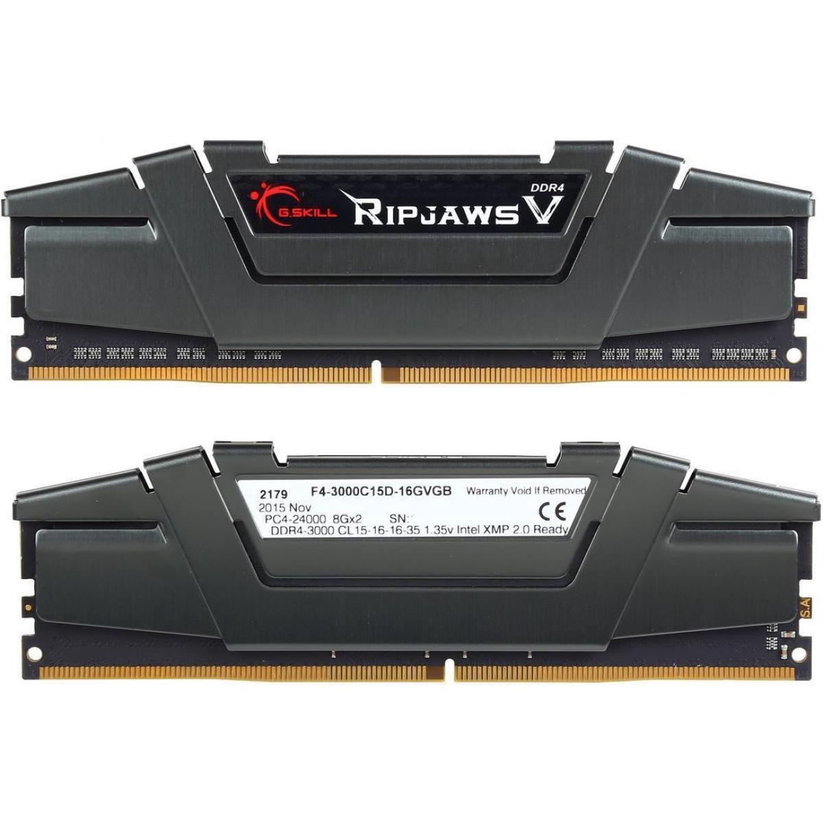 Memória DDR4 G.Skill Ripjaws V, 16GB (2x8GB) 3000MHz, F4-3000C15D-16GVGB