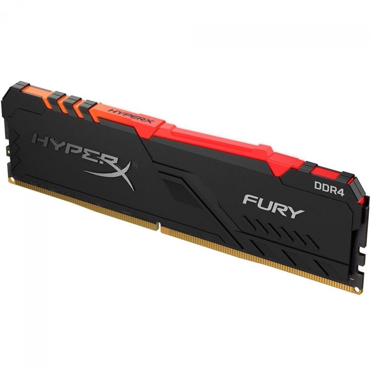 Memória DDR4 Kingston HyperX Fury RGB, 16GB, 2400MHz, Black, HX424C15FB3A/16