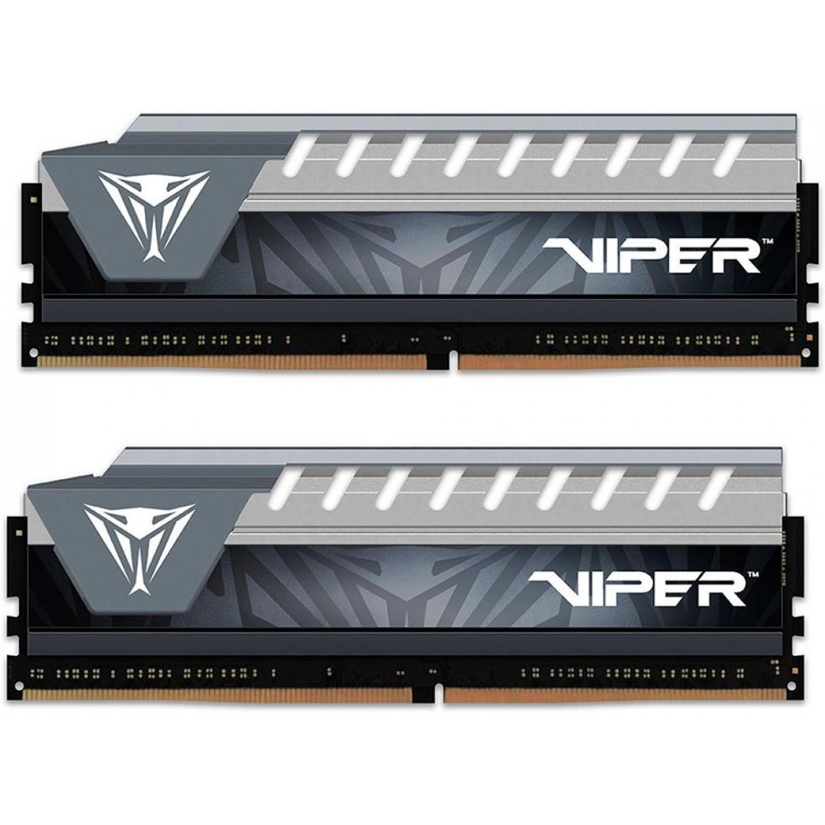 Memória DDR4 Patriot Viper Elite, 8GB (2X4GB) 2666MHz, Cinza, PVE48G266C6KGY