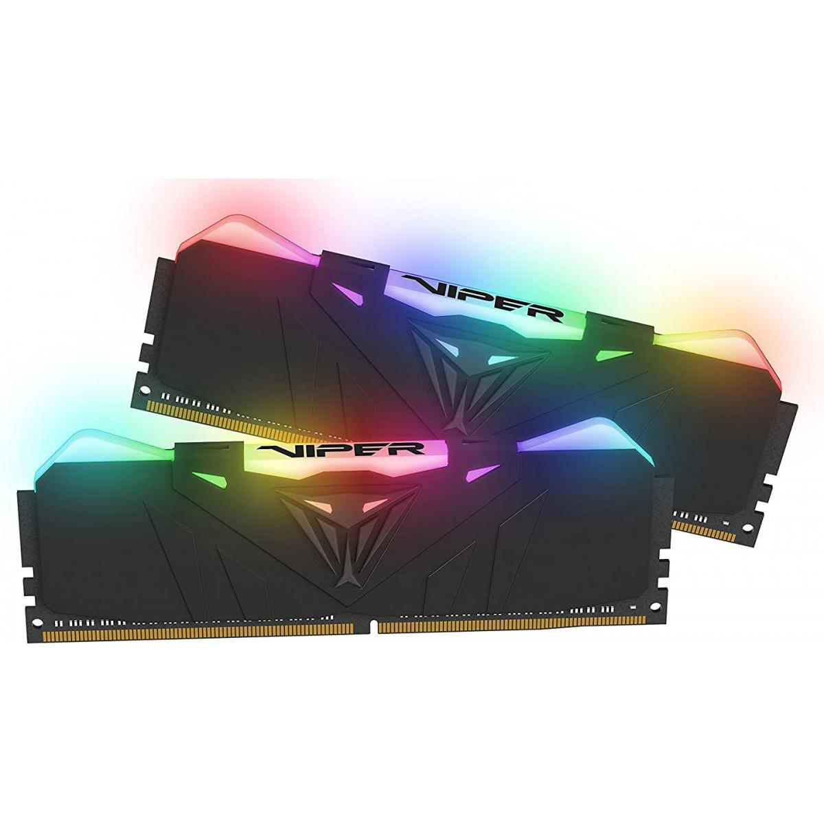 Memória DDR4 Patriot Viper RGB, 16GB (2x8GB) 2666MHz, Black, PVR416G266C5K