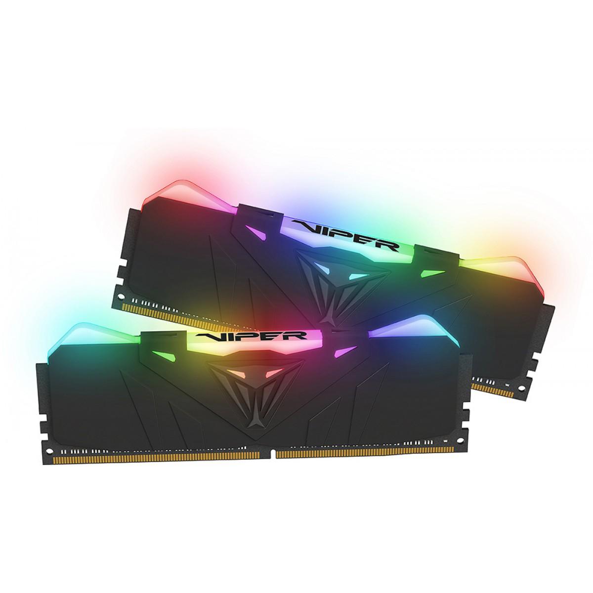 Memória DDR4 Patriot Viper RGB, 16GB (2x8GB) 3600MHz, Black, PVR416G360C7KV