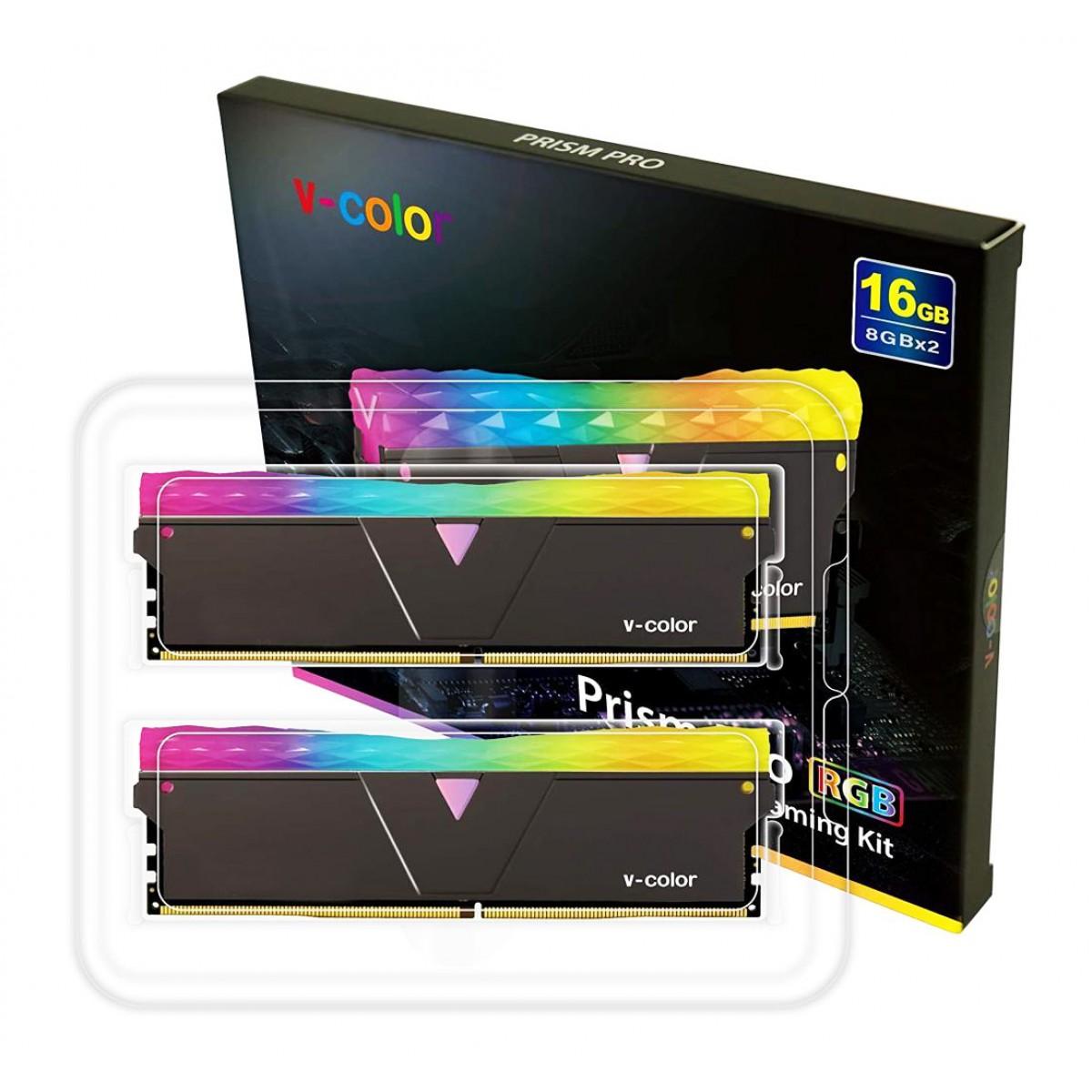 Memória DDR4 V-Color Prism Pro, 16GB (2x8GB), 3200Mhz, RGB, Black, TL8G32816D-E6PRKWK