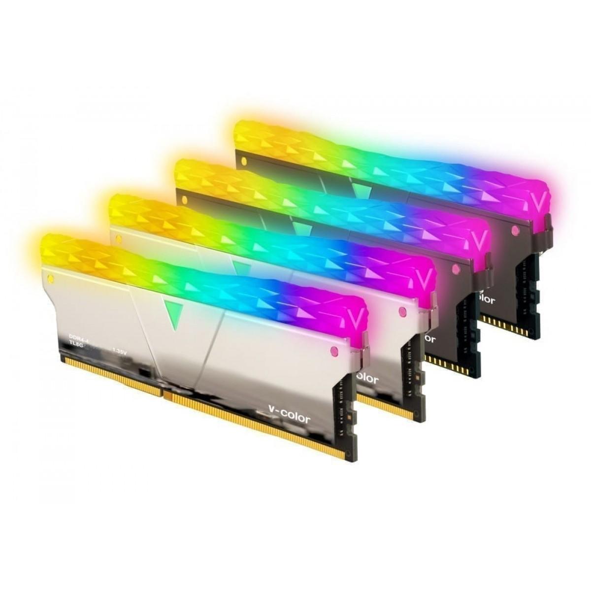 Memória DDR4 V-Color Prism Pro, 16GB (2x8GB), 4133Mhz, RGB, Silver, SCC-TL8G41819D-E6PRSWK