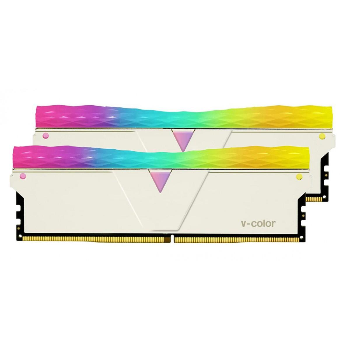 Memória DDR4 V-Color Prism Pro, 16GB (2x8GB), 4133Mhz, RGB, Silver, TL8G41819D-E6PRSWK