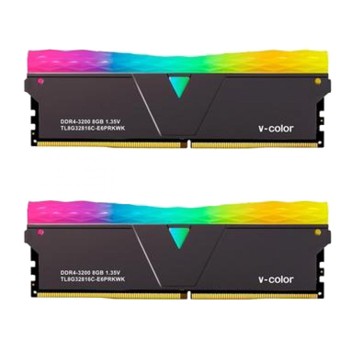 Memória DDR4 V-color PRISM PRO RGB 3600 U-dimm, 16GB, 3600MHZ, BLACK, TL16G36818A-E6PRAAK
