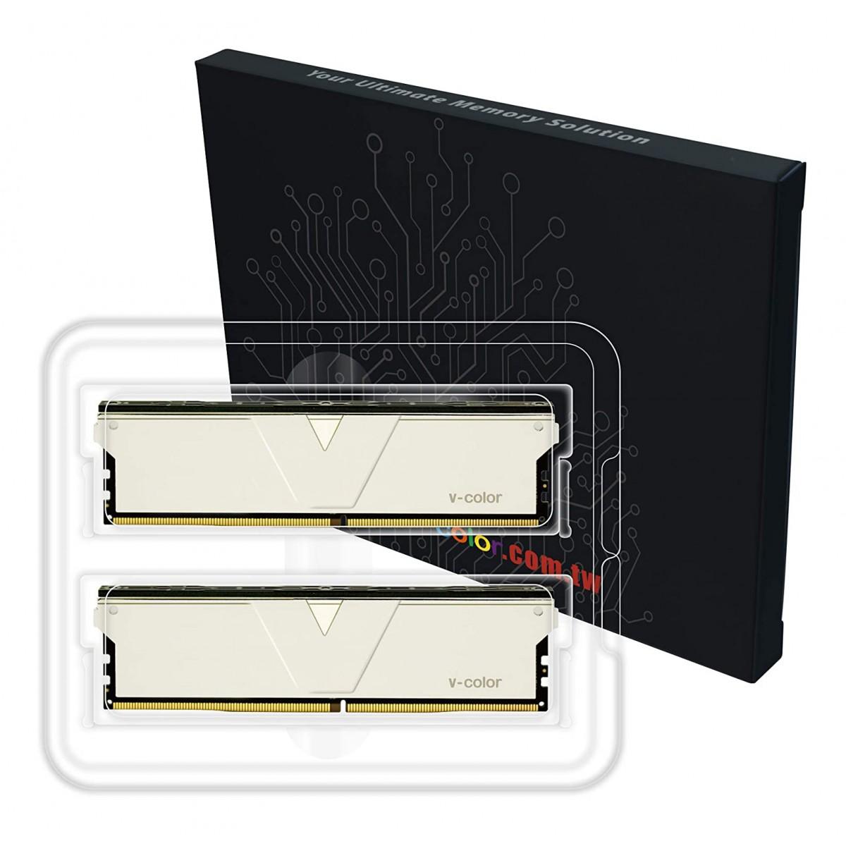 Memória DDR4 V-Color Skywalker Plus, 32GB (2x16GB), 3200Mhz, Silver, TO416G32D816DSPSXK