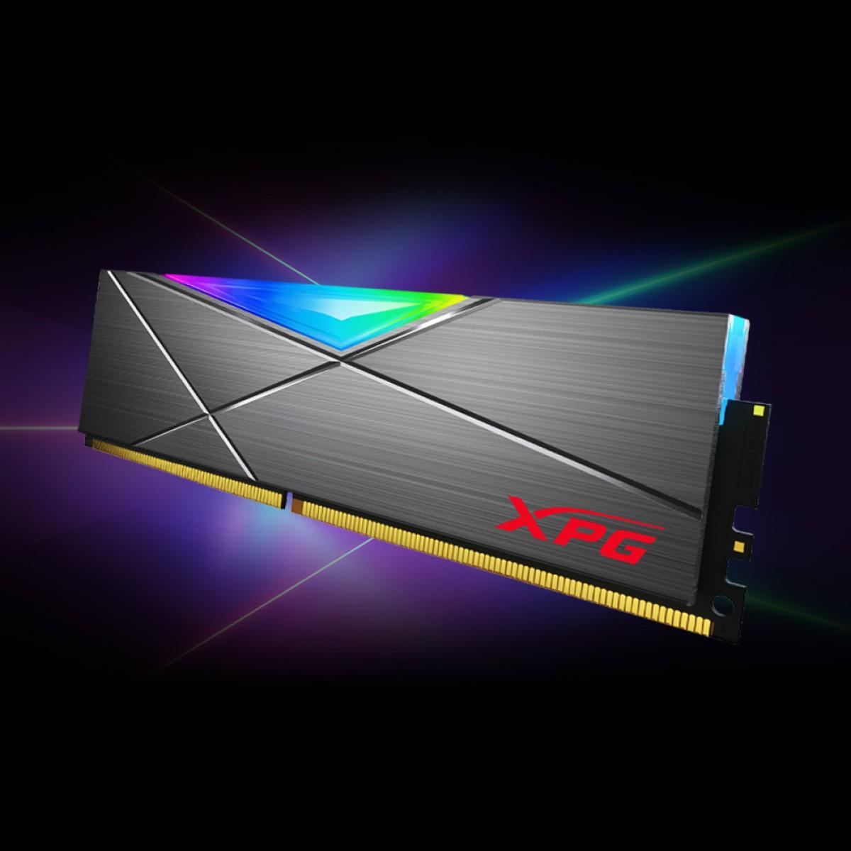 Memória DDR4 XPG Spectrix D50, 8GB, 3000Mhz, CL16, RGB, Gray, AX4U300088G16A-ST50