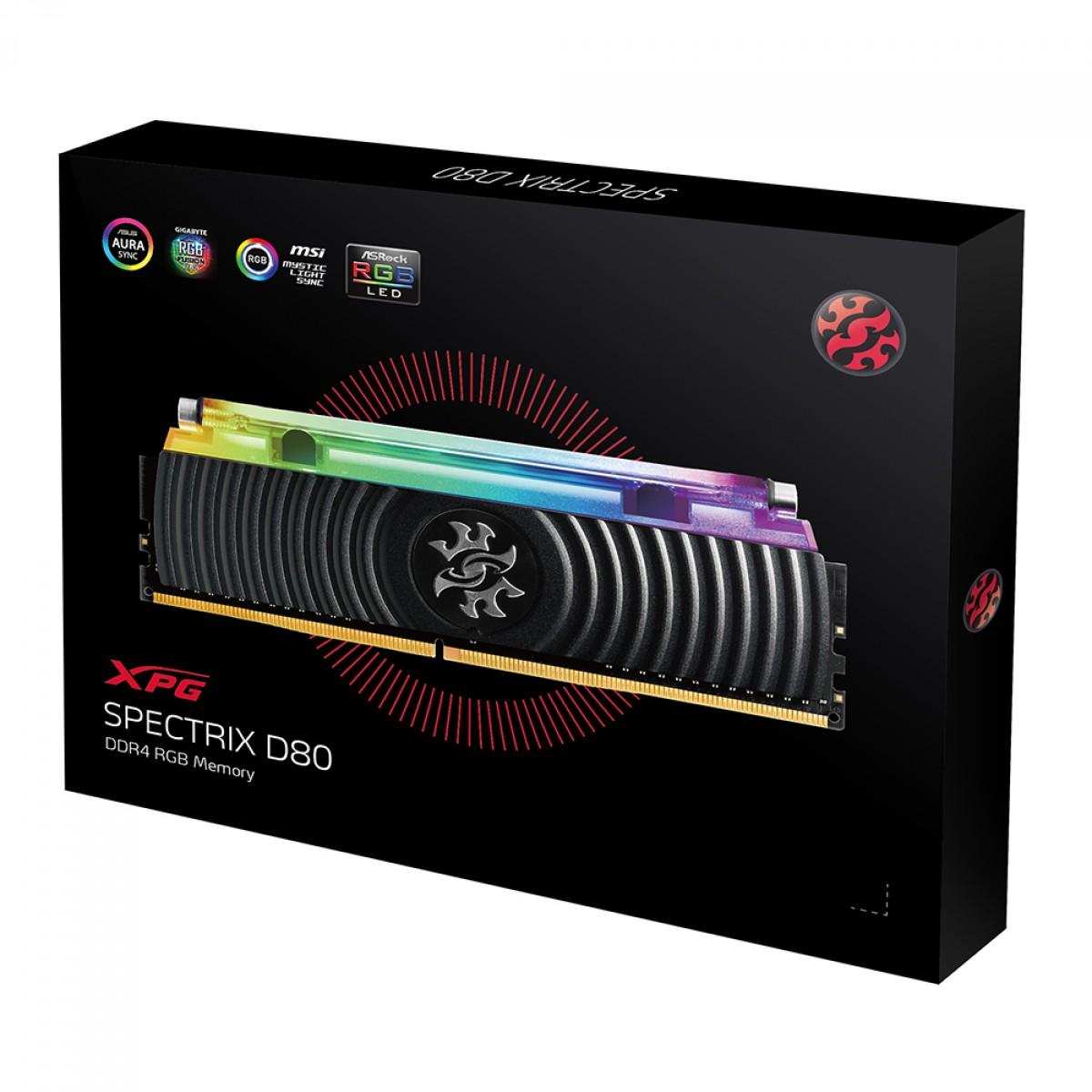 Memória DDR4 XPG Spectrix D80, 16GB (2x8GB), 3000Mhz, CL16, RGB, Black, AX4U300038G16A-DB80
