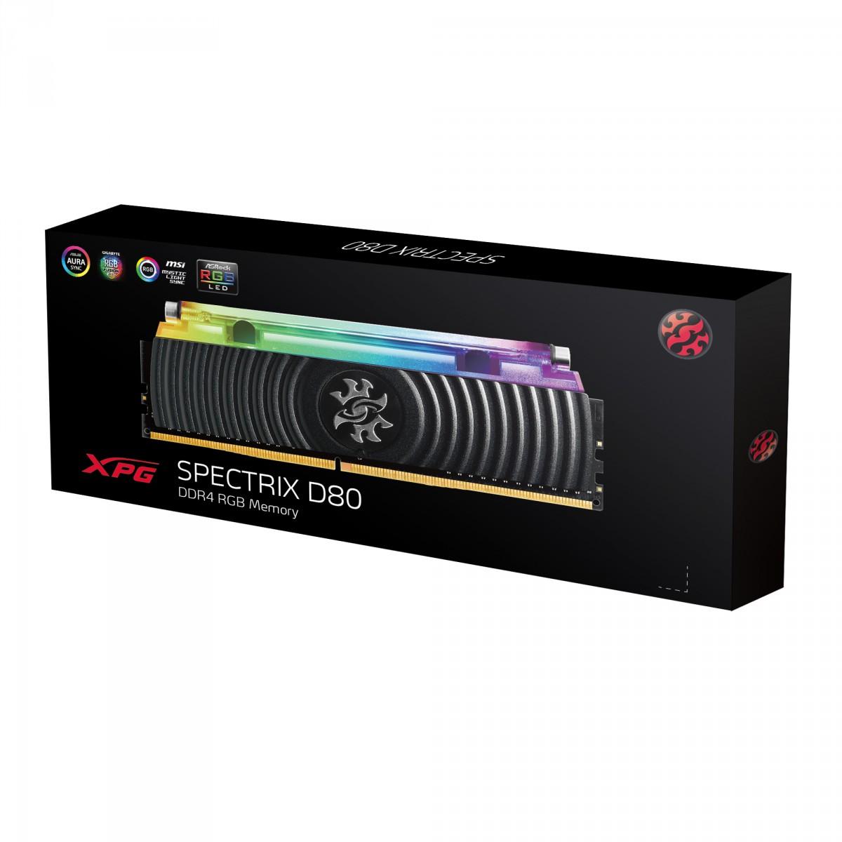 Memória DDR4 XPG Spectrix D80, 16GB, 3200Mhz, CL16, RGB, Black, AX4U3200316G16-SB80