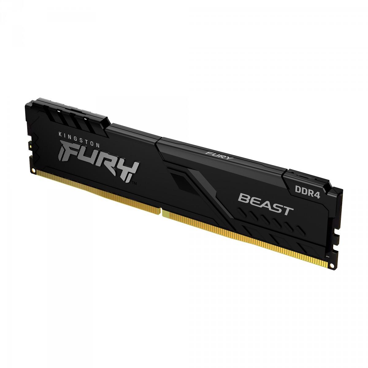 Memória Kingston Fury Beast, 16GB, 3200Mhz, DDR4, CL16, Preto, KF432C16BB1/16