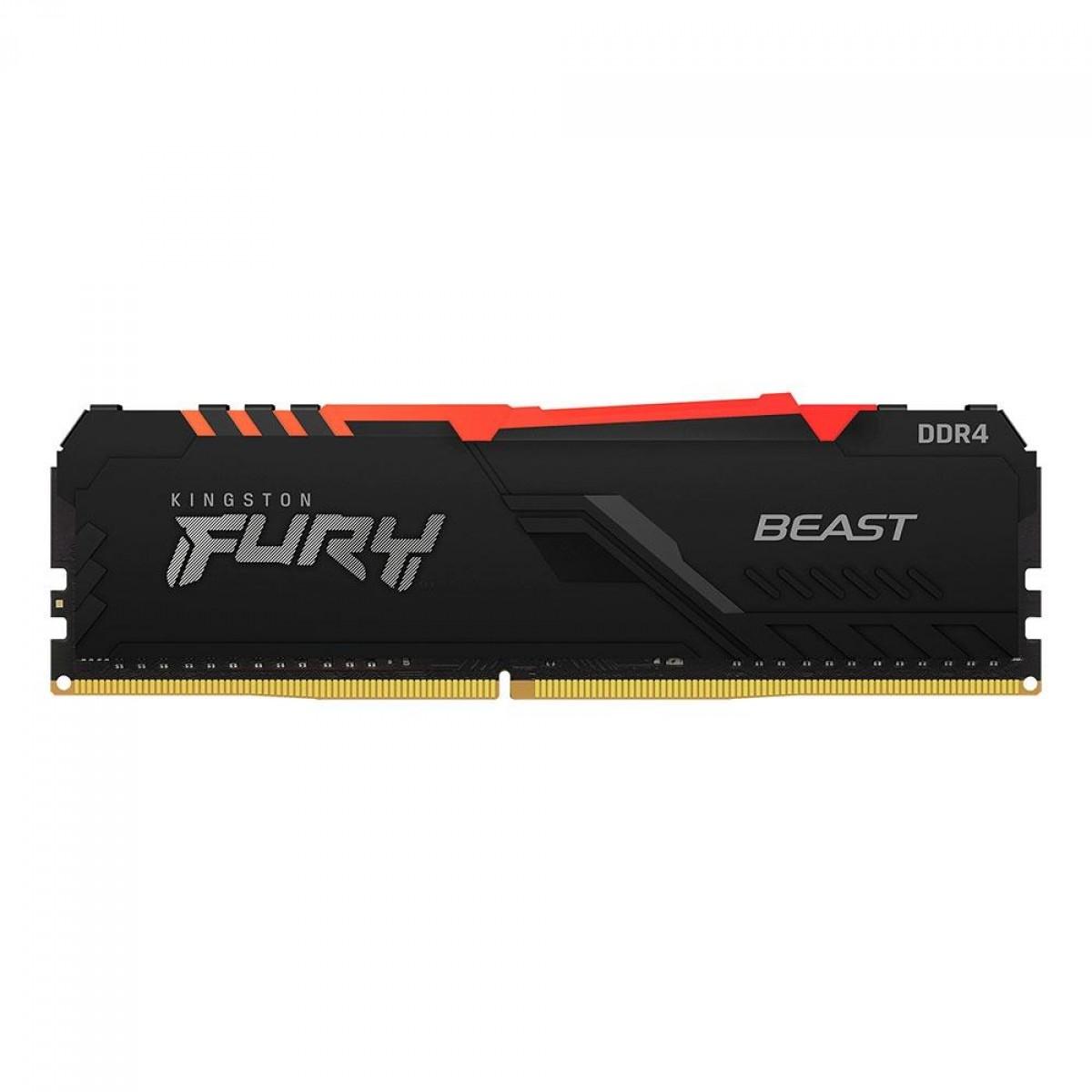 Memória Kingston Fury Beast RGB, 8GB, 3600Mhz, DDR4, CL17, Preto, KF436C17BBA/8