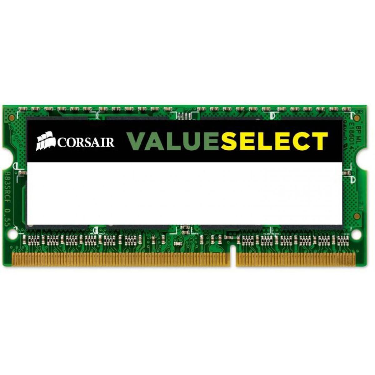 Memória para Notebook DDR3L Corsair Value Select, 4GB 1600MHz, CMSO4GX3M1C1600C11