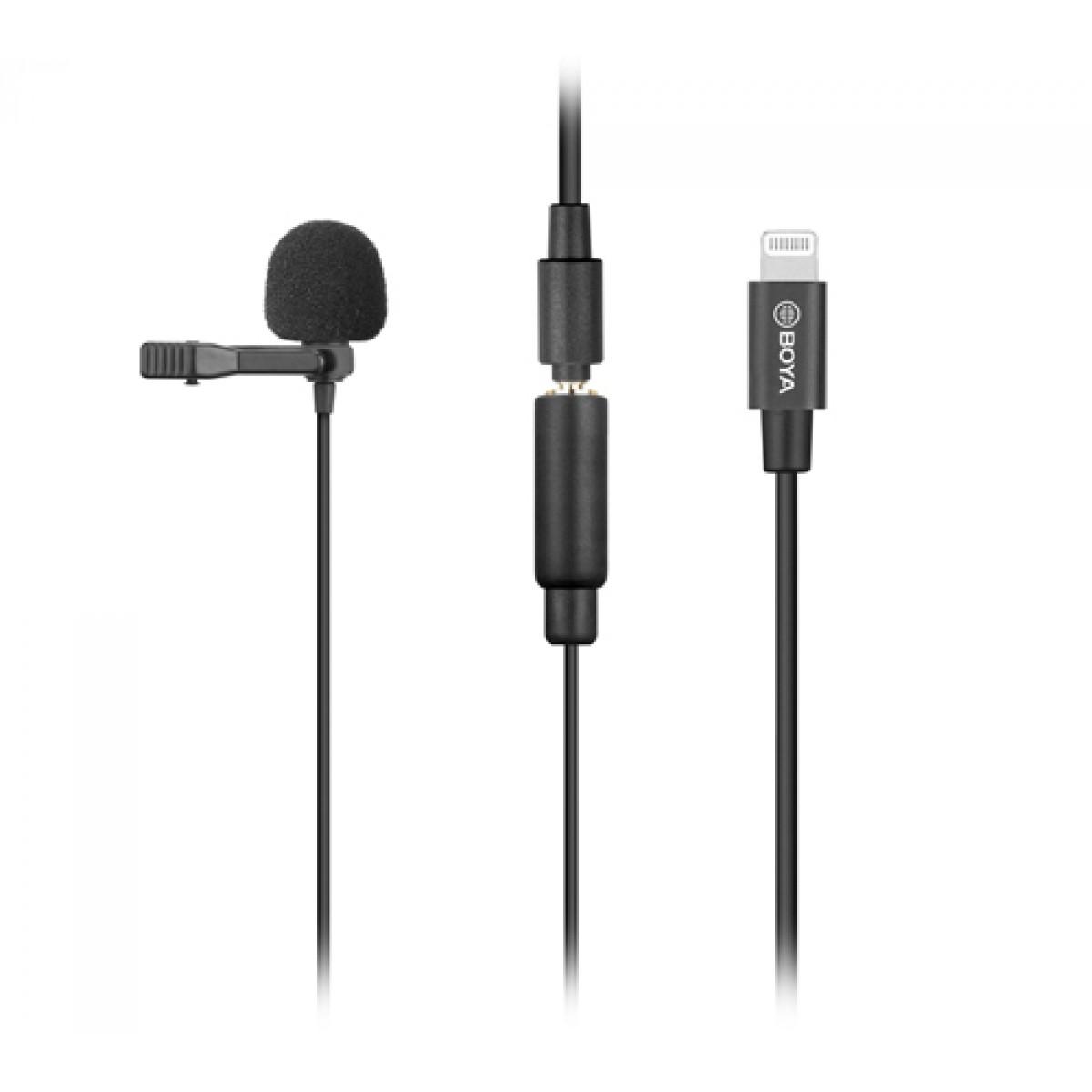 Microfone de Lapela BOYA BY-M2, Omnidirecional, Com Clip, Para IOS, Black