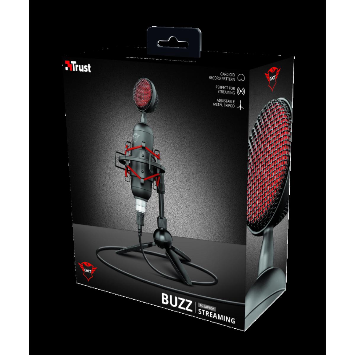 Microfone Gamer Trust, GXT 244 Buzz Streaming, USB, T23466