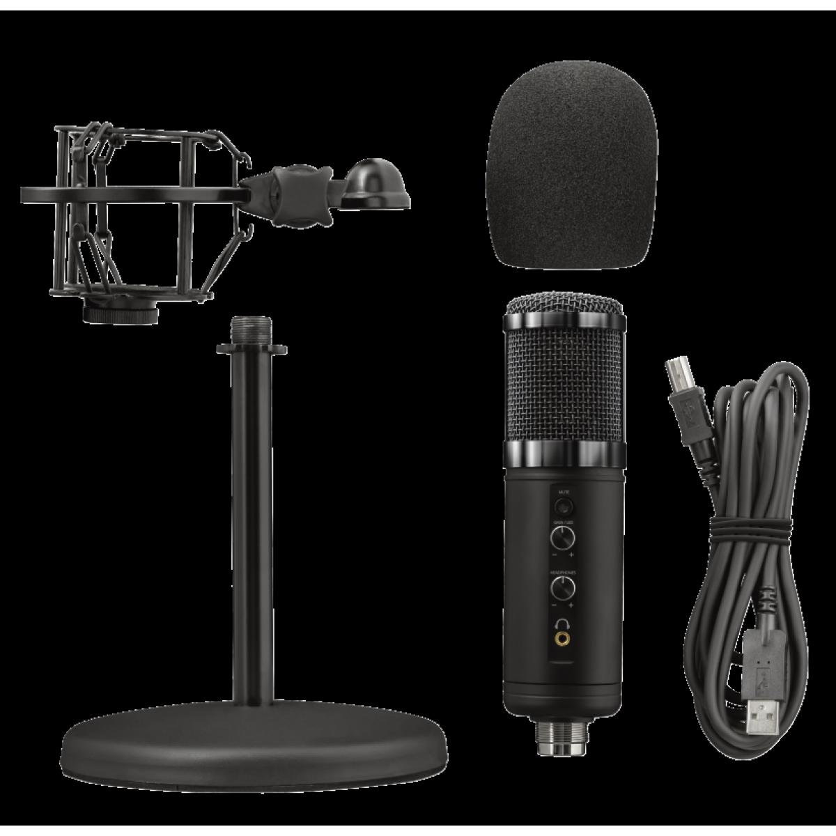 Microfone Gamer Trust, GXT 256 Exxo Streaming, USB, T23510